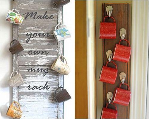 Ideas de decoraci n para colgar tazas mug en la cocina for Colgar utensilios de cocina
