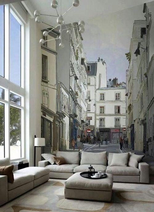 Cómo decorar paredes originales con fotomurales de ciudades 1