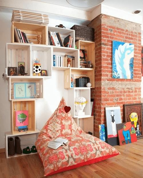 Cajas de madera para fruta para hacer estanterías de pared 1