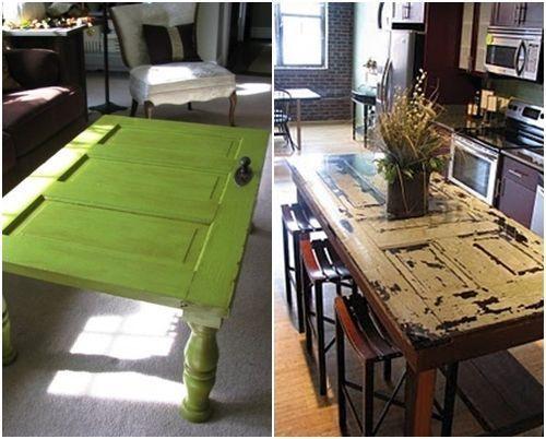 Ideas para reciclar muebles mesas espejos y cabeceros a for Como reciclar puertas antiguas