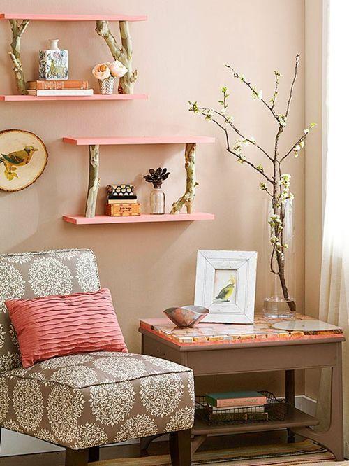 Más ideas para decorar con ramas secas repisas modernas con toque rústico 3