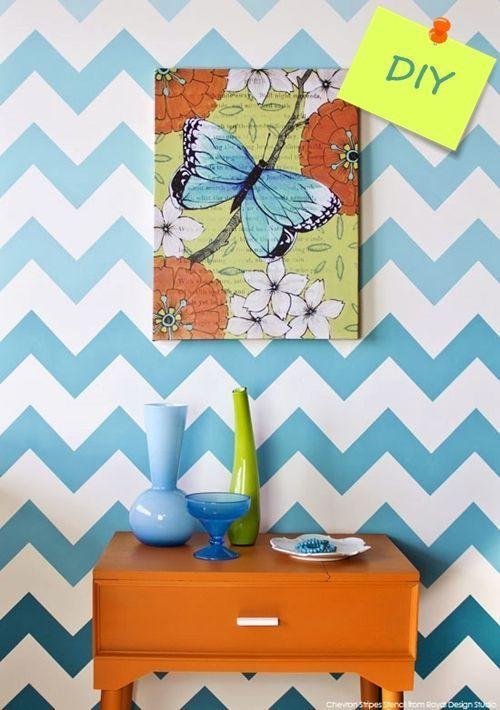 Nuevas ideas geom tricas con plantillas para pintar paredes decomanitas - Plantillas pared ...