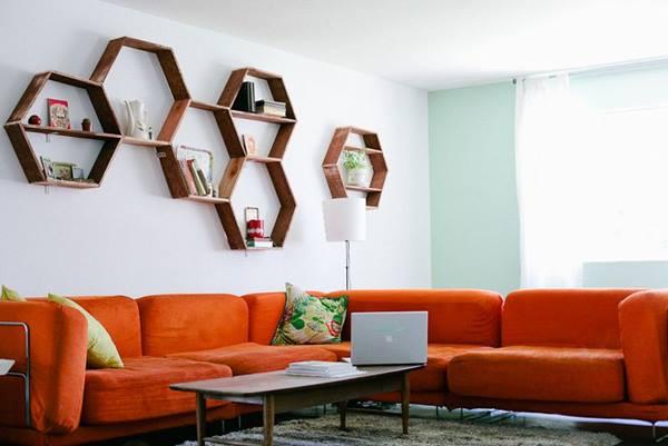 Decoración retro con estanterías de pared en forma de hexágono 3
