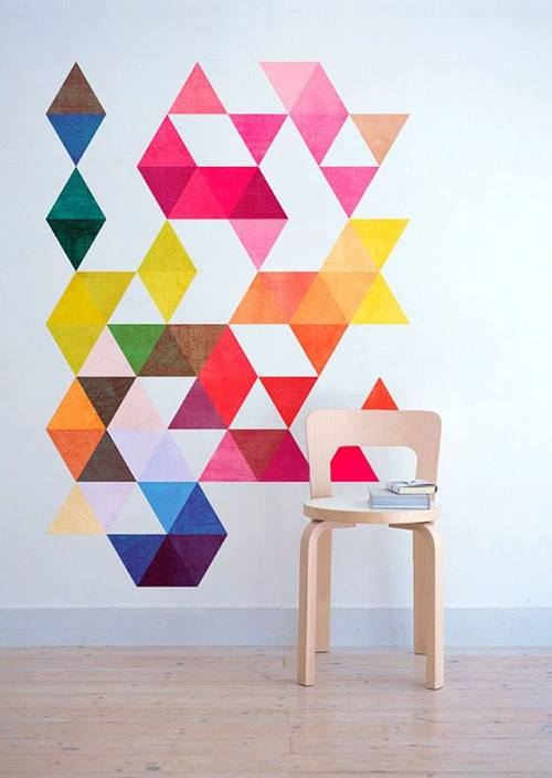 Decoración retro con triángulos Eames multicolor 3