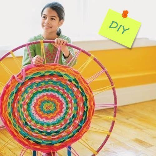 como hacer una alfombra de trapillo con un hula hoop 1
