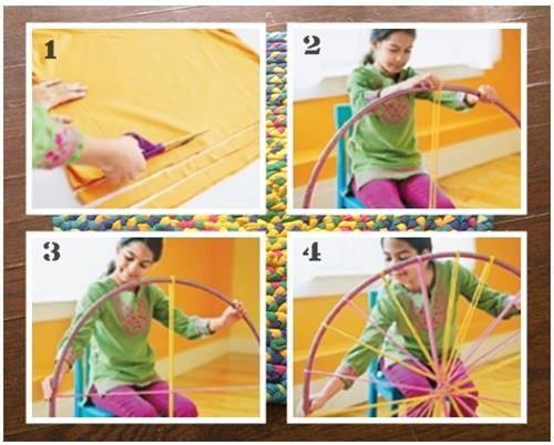 como hacer una alfombra de trapillo con un hula hoop 2