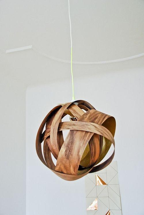 Cómo hacer una lámpara moderna con chapa de madera  3