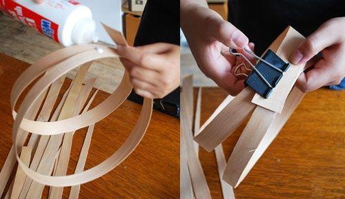Cómo hacer una lámpara moderna con chapa de madera 6