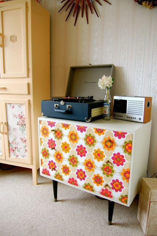 Ideas para decorar con papel pintado vintage decomanitas - Decorar muebles con papel ...