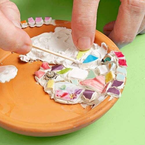 Manualidades para decorar la casa jabonera facil con mosaico 4