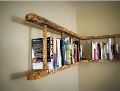 Decoración reciclada estanterías de pared con escaleras de madera rústicas 3