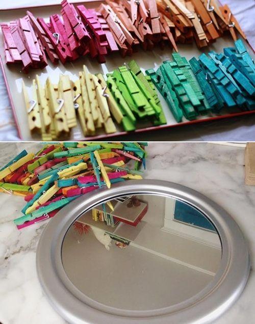 10 manualidades con pinzas de madera para decorar tu casa for Como hacer espejos vintage
