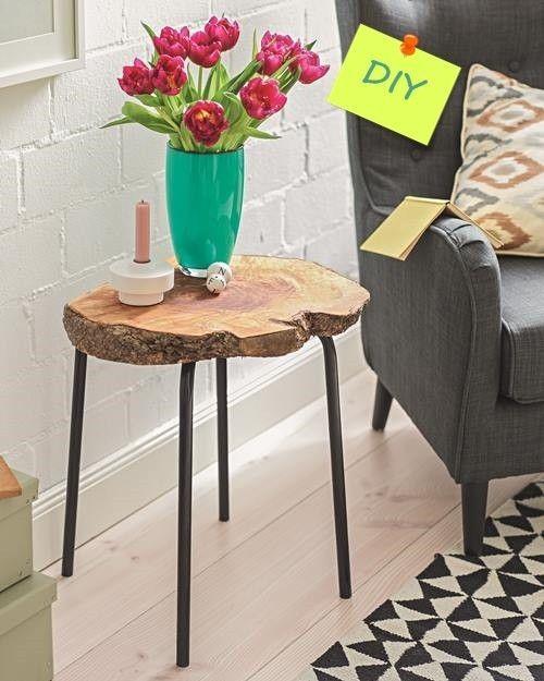 Idea de decoracion rustica mesa auxiliar de madera de pino DIY 1
