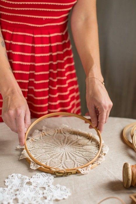 Atrapasueños DIY decorar reciclando tapetes de ganchillo 3