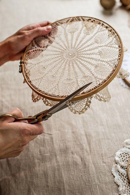 Atrapasueños DIY decorar reciclando tapetes de ganchillo 5