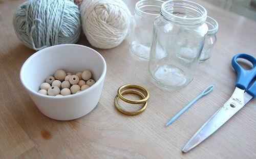 Manualidades para casa reciclar tarros de cristal con macramé 2