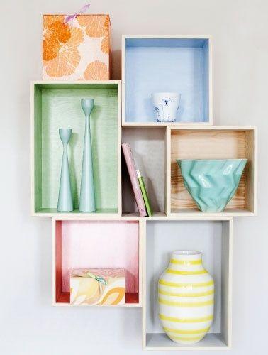 15 ideas para decorar cajas de madera y tunearlas en estanterías 6