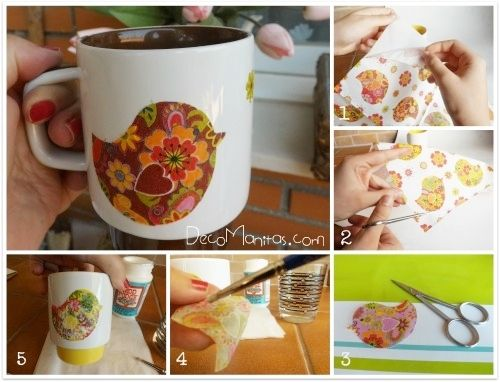 Decoupage con servilletas de papel cómo decorar tazas paso a paso 2