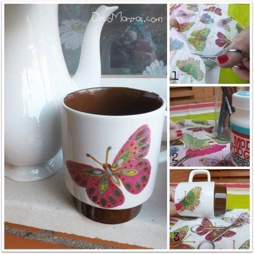 Decoupage con servilletas de papel como decorar tazas paso a paso 3