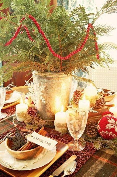 15 Ideas de decoración eco-chic para mesas de Navidad 12