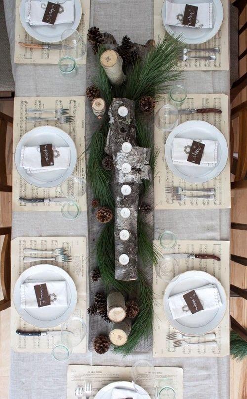 15 Ideas de decoración eco-chic para mesas de Navidad9