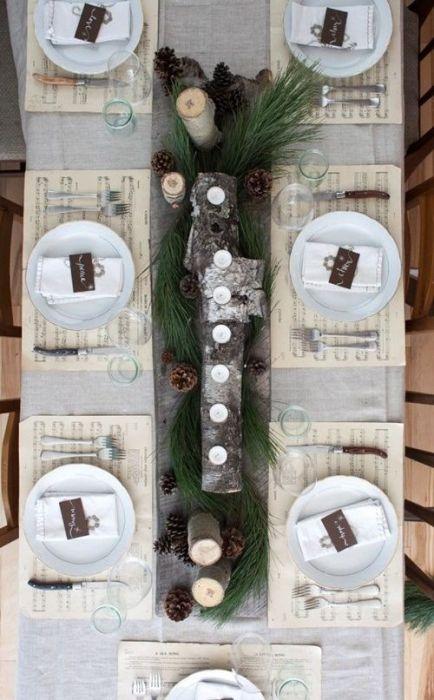 15 Ideas de decoración eco-chic para mesas de Navidad 9