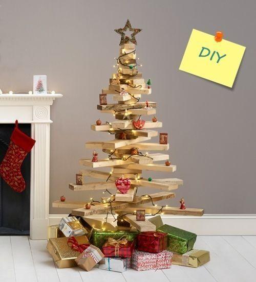 DIY decoracion árbol de Navidad original con listones de madera 1