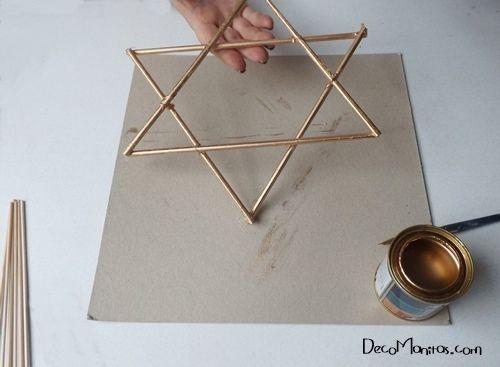Estrellas de Navidad DIY con palitos y cuerda 11