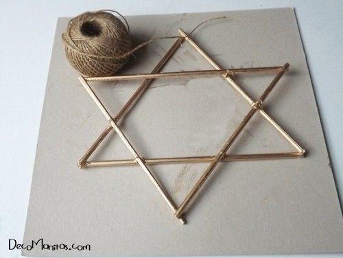 Estrellas de Navidad DIY con palitos y cuerda 13