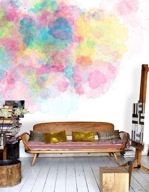 Pintar paredes efecto acuarela o pizarra trampantojos - Pintar paredes con efectos ...