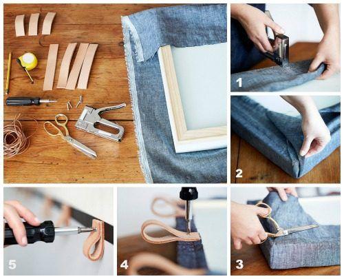 Como hacer un cabecero original para la cama con denim y cuero 2