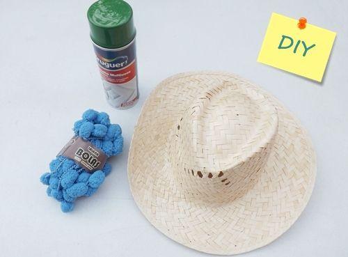 DIY con pintura en spray cómo personalizar sombreros de paja 17