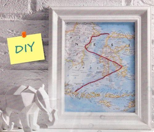 Decora tu pared con un mapa personalizado con hilo de bordar 1