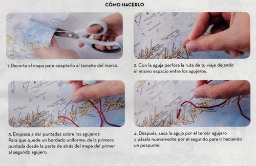 Decora tu pared con un mapa personalizado con hilo de bordar 2