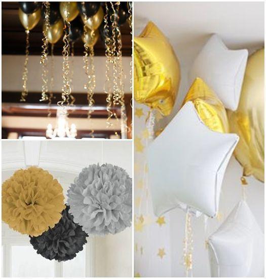 otras ideas para decorar fiestas incluyen los globos con tiras de flecos las siluetas en negro sobre superficies doradas y los ccteles de champn con