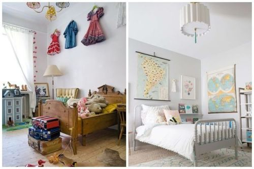 Ideas para decorar habitaciones infantiles originales con camas para niños vintage y pintura en tonos claros.