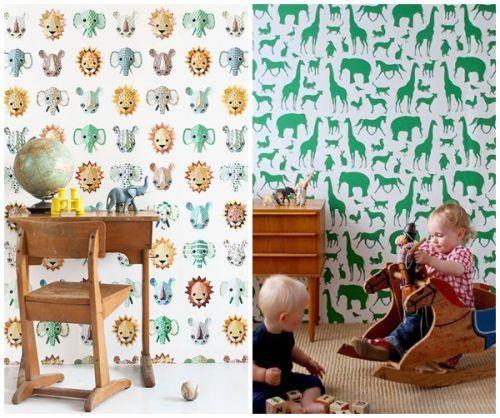 2 ideas para decorar habitaciones infantiles originales con papel pintado infantil de animales.