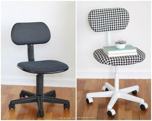 Sillas de oficina con estilo después de ser transformadas con un estilo trabajo de DIY.