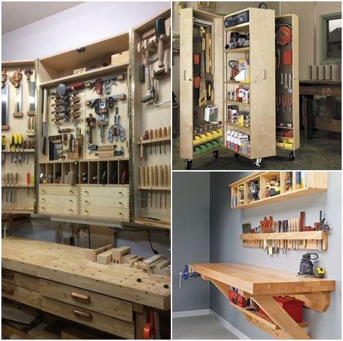 Ordenar herramientas de bricolaje en casa con muebles abatibles y modulares.