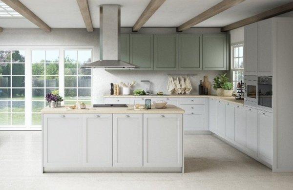 Nuevas tendencias en cocinas 2021 cocinas tradicionales en dos colores suaves.