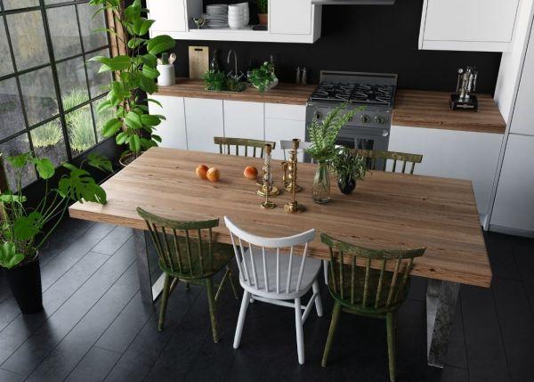 Los conjuntos de mesas de comedor con sillas retro quedan perfectos en cocinas rectilíneas.