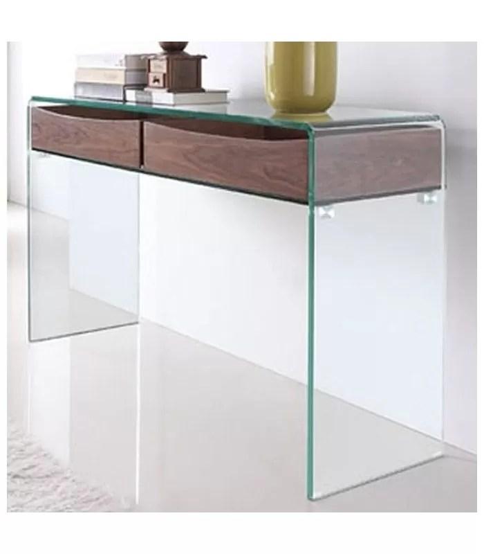 console design en verre et bois glasswoody