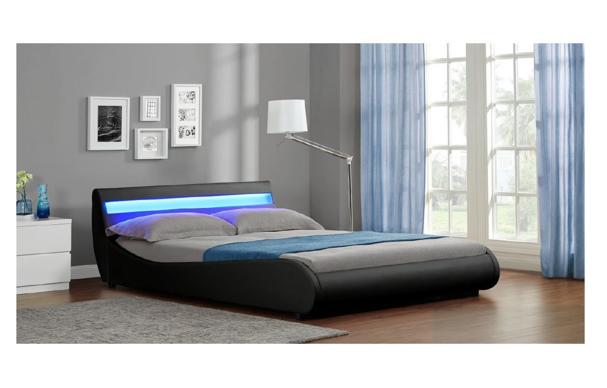 Lit 160 Queen Size En Simili Cuir Noir Et Bande Led Moon