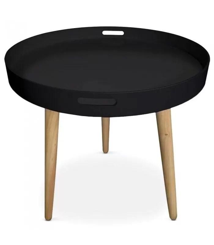 table basse plateau ronde noire ou blanche typy