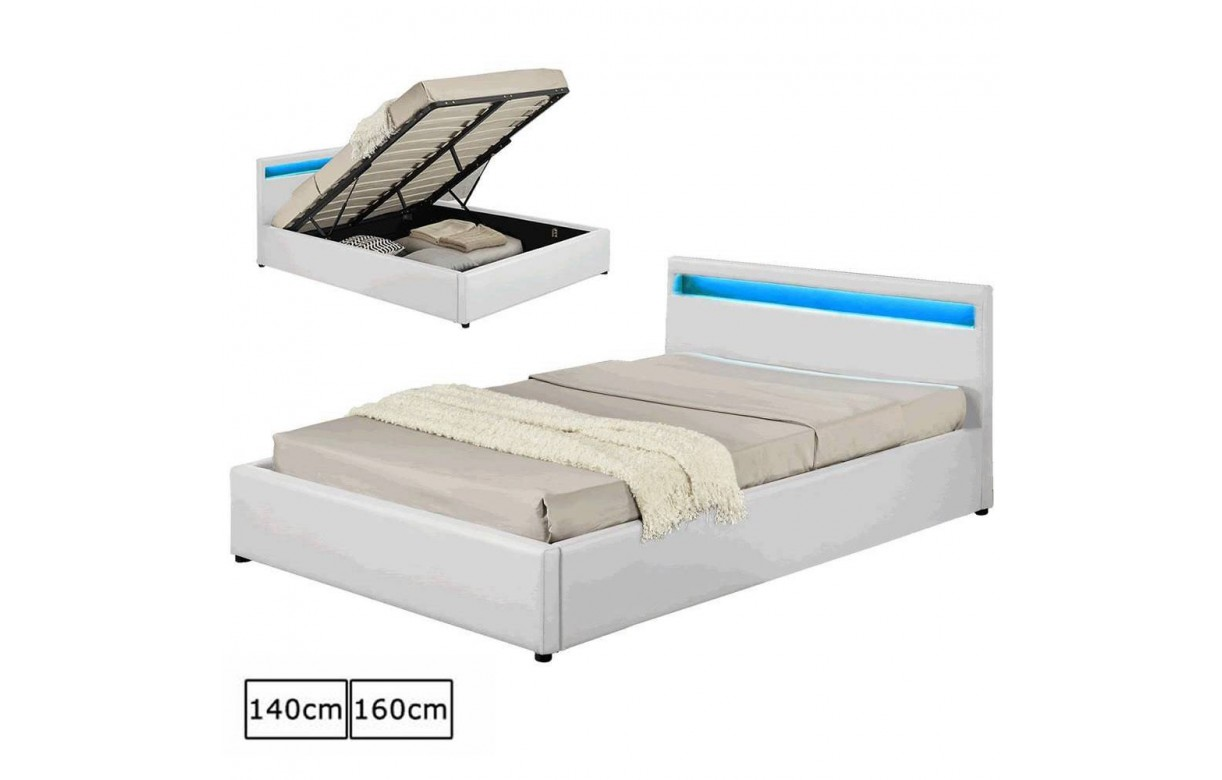 Lit Coffre Design Italien En Simili Cuir Blanc Oty 140 Ou 160