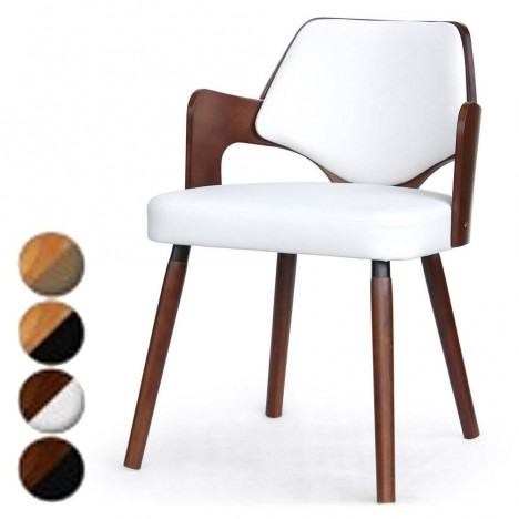chaise scandinave bois et simili cuir dimy lot de 2