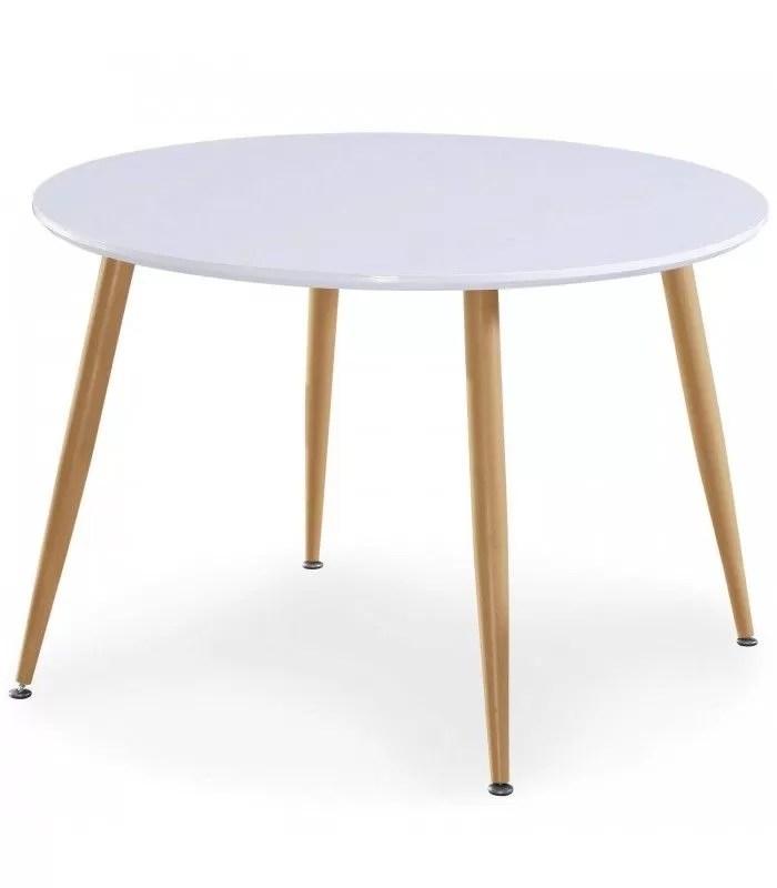 table blanche ronde avec pieds bois clair style scandinave nina