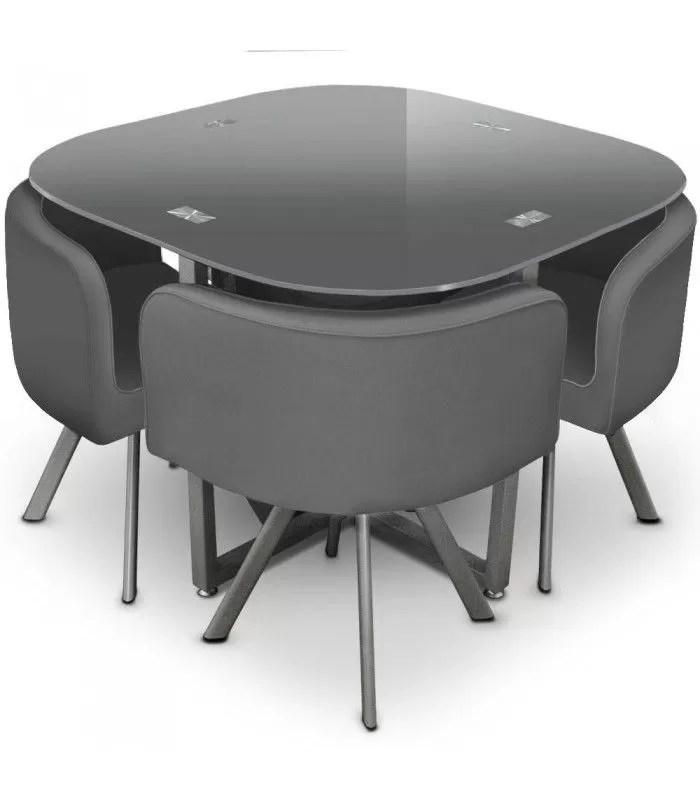 table et 4 chaises encastrables avec plateau verre 5 coloris