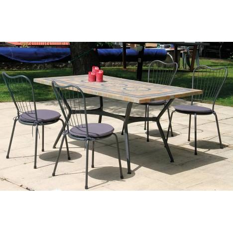 table de jardin mosaique rectangulaire 4 ou 6 chaises antalya