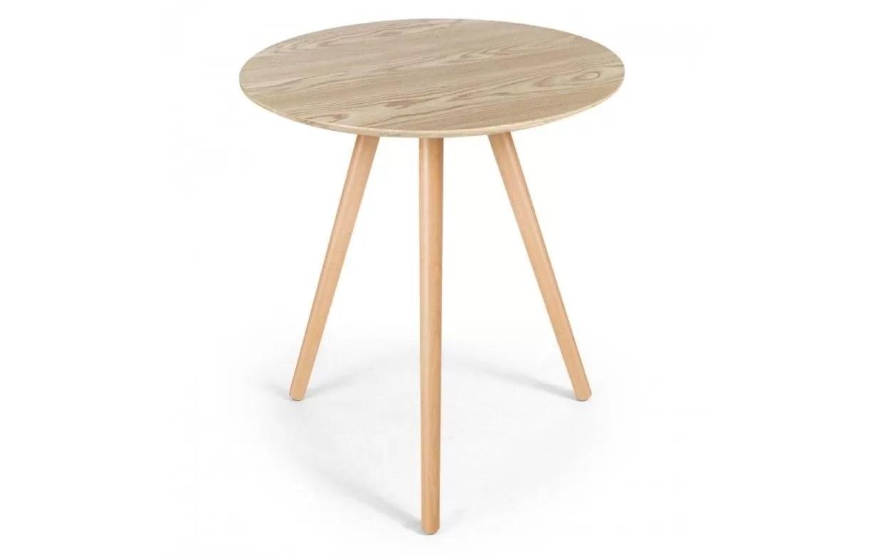 petit table ronde en bois clair chene ezra